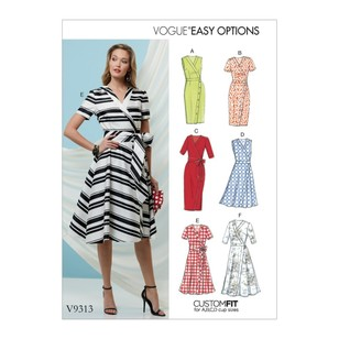 Vogue Pattern V9313 Vogue Easy Options Custom Fit Misses' Dress And Sash