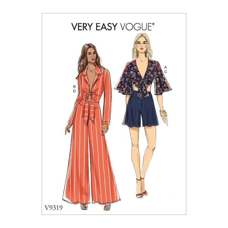 Vogue Pattern V9319 Very Easy Vogue Misses' Top, Shorts And Pants