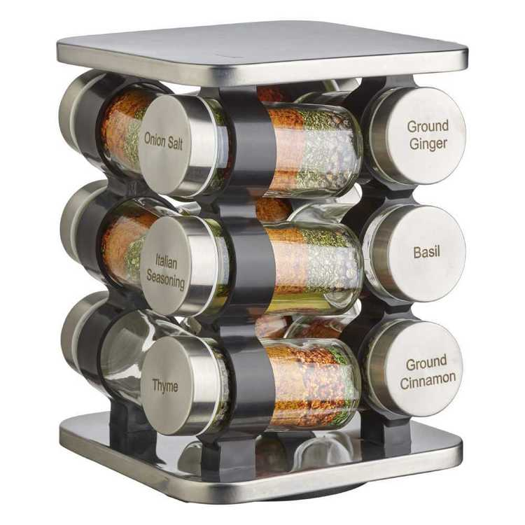 Cooper Amp Co Spice Rack Rotating Base Stainless Steel