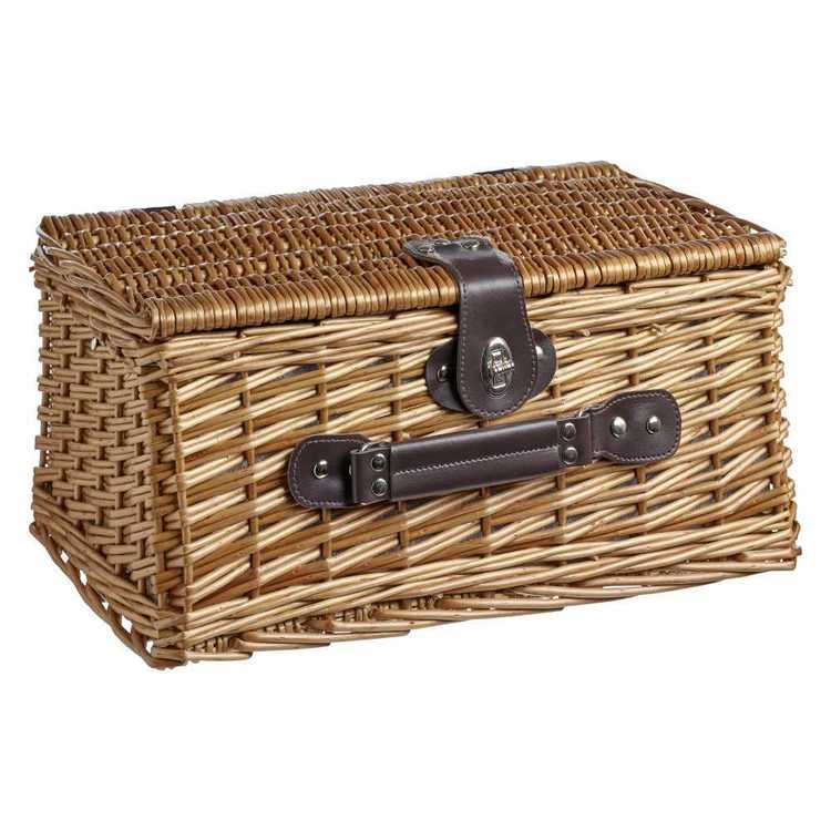 Willow Two Persons Picnic Baskets Light Brown 40 x 28 x 18 cm