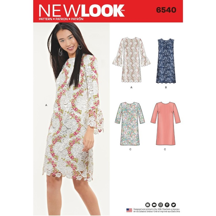 New Look Pattern 6540 Misses' Shift Dress