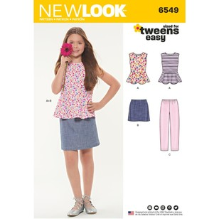 New Look Pattern 6549 Girls' Top, Skirt And Pants