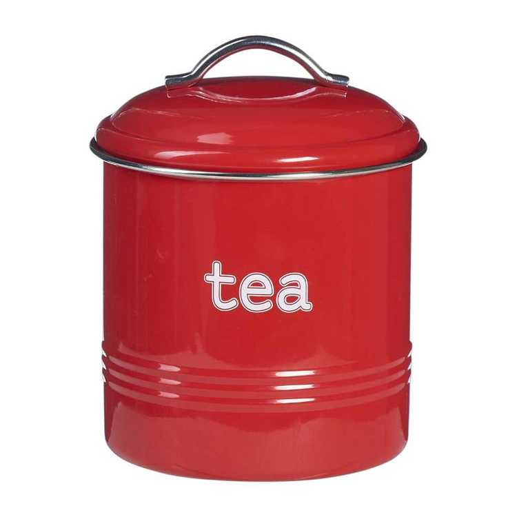 Tea Round Cannisters With Stainless Steel Rim