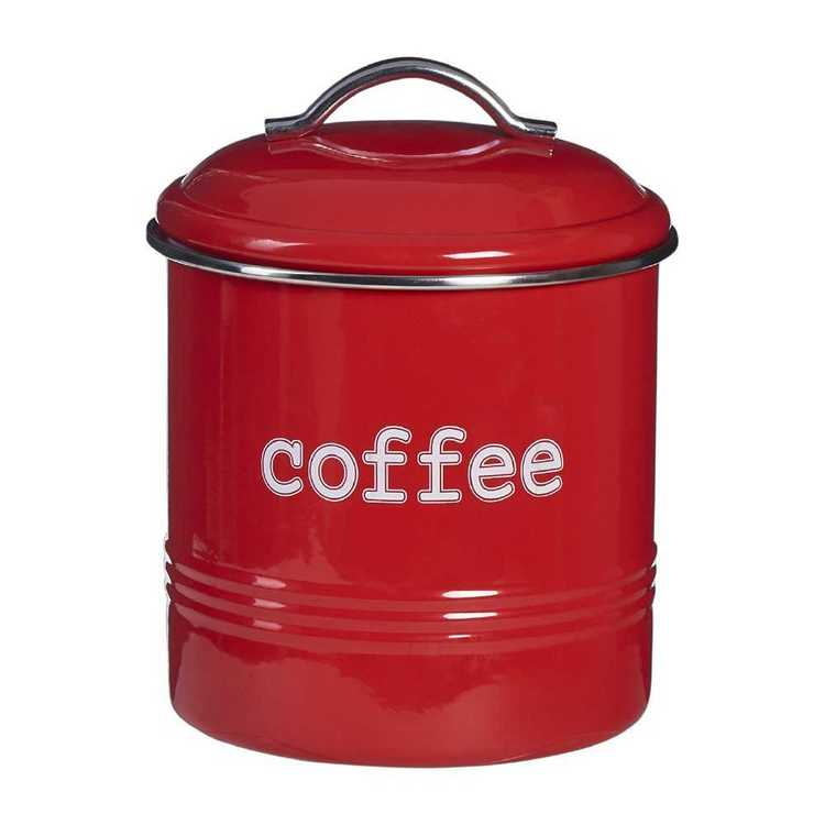 Coffee Round Canister With Stainless Steel Rim
