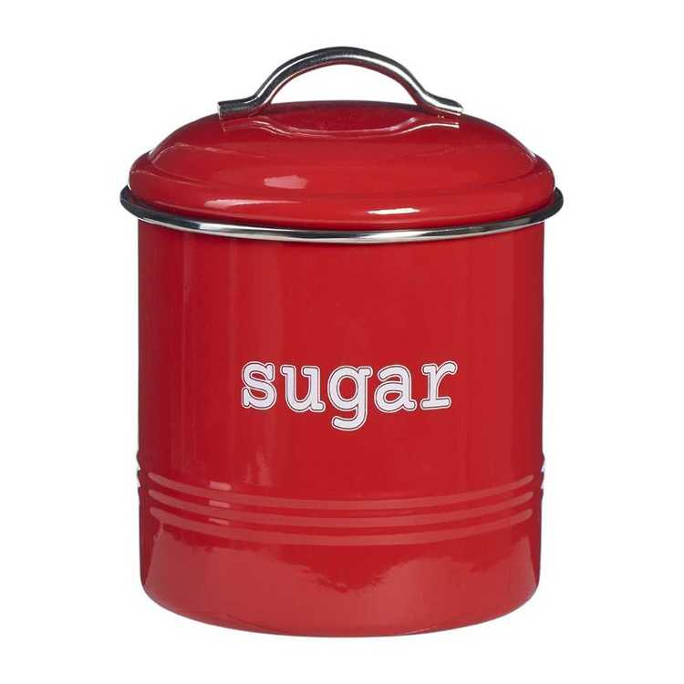 Sugar Round Cannister With Stainless Steel Rim Red 13 x 13 cm