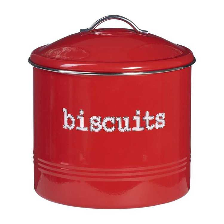 Biscuit Round Canister With Stainless Steel Rim Red 18 x 15 cm