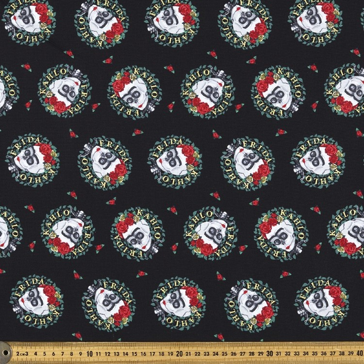 Frida Kahlo Skull Wreaths Fabric Black & Multicoloured 112 cm