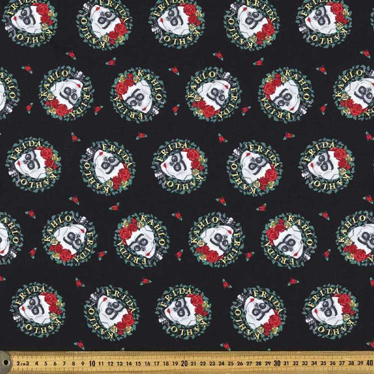 Frida Kahlo Skull Wreaths Fabric