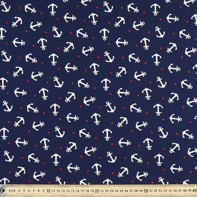 Gertie By Gretchen Hirsch Spotted Anchor Printed Poplin Fabric