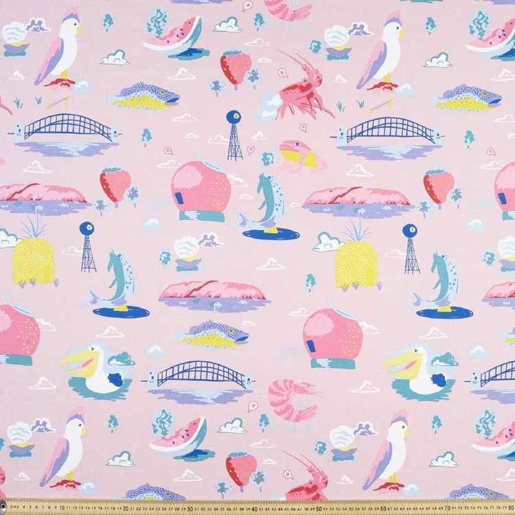 Ellie Whittaker Harbour Printed Fabric Pink 150 cm