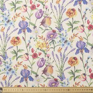 Caprice Poly Linen Flowers Fabric