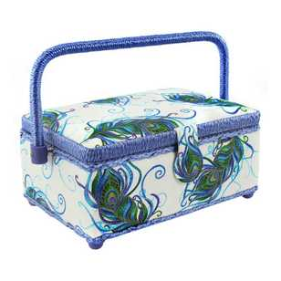 Semco Peacock Feather Sewing Basket