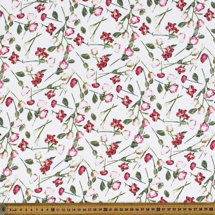 Rosebuds Garden #2 Printed Crepe Fabric