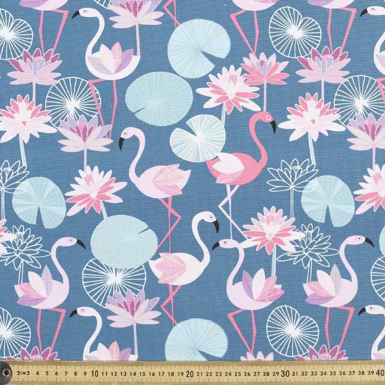 Jocelyn Proust Flamingo Printed Fabric Teal & Pink 150 cm
