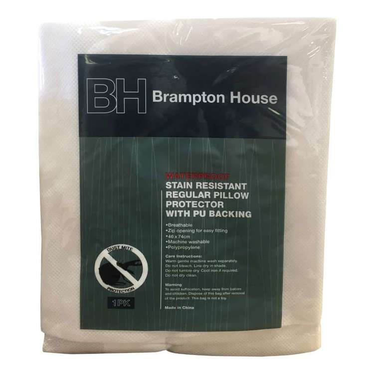Brampton House Waterproof Stain Resistant Pillow Protector White Standard