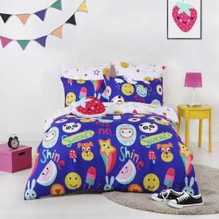 Ombre Blu Emoji Sweet Quilt Cover Set