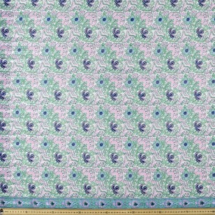 Leaves & Flowers Printed 146 cm Boho Lurex Polyester Fabric