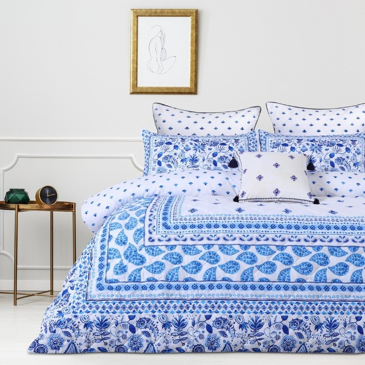 Belmondo Provincal Steele Quilt Cover Set Blue