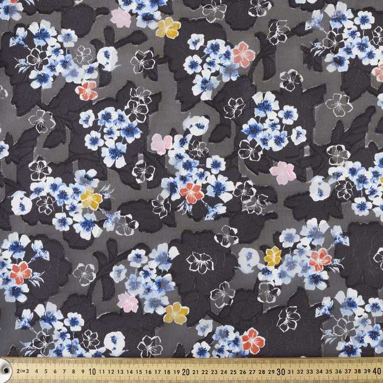 Burnout Floral Printed Chiffon Fabric