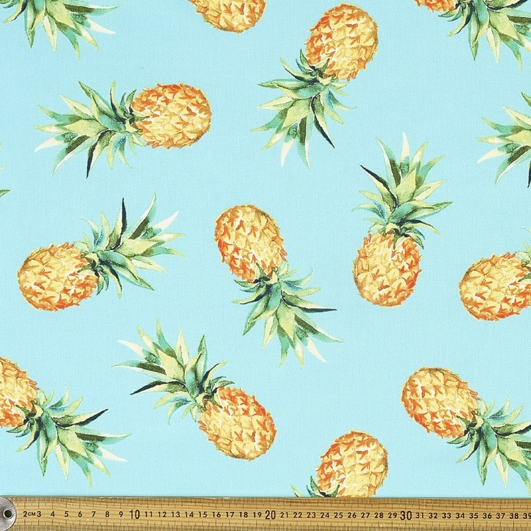 Pineapples Printed Montreaux Drill Cotton Fabric