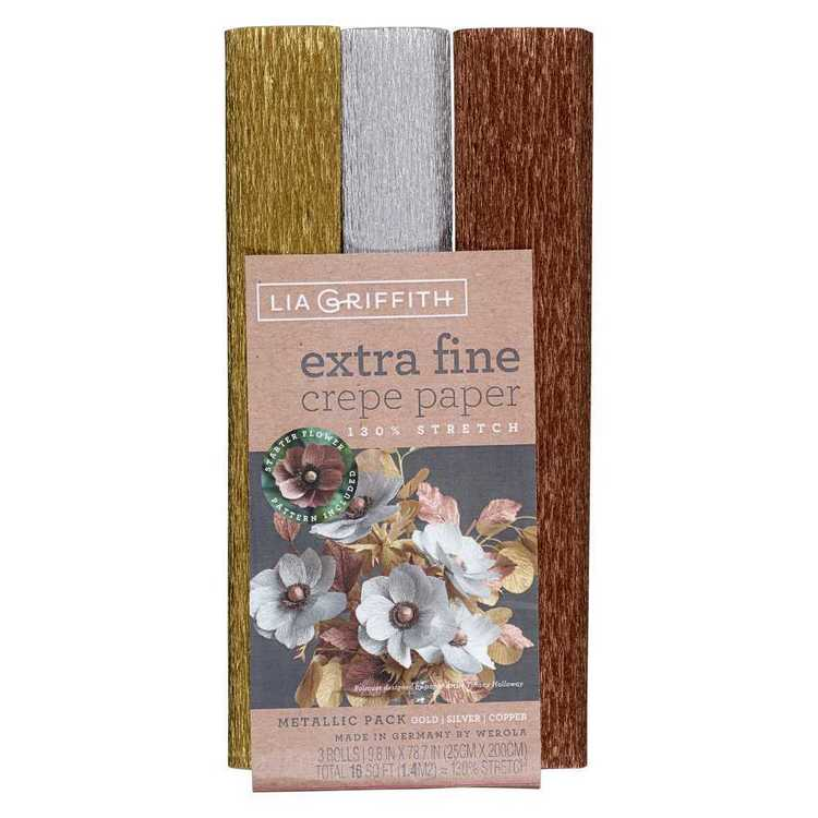 Lia Griffith Gold Silver & Copper Metallic Crepe Paper 3 Pack