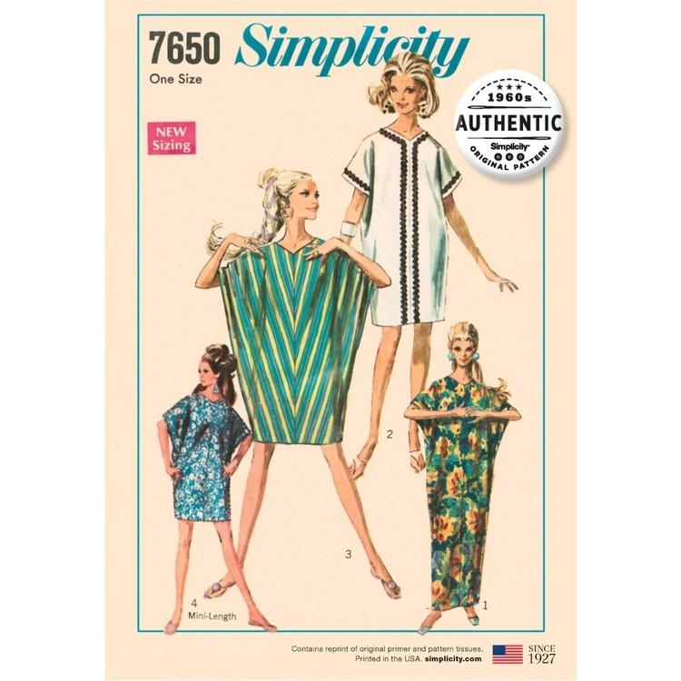 Simplicity Pattern 7650 Misses' Vintage Caftan Dress