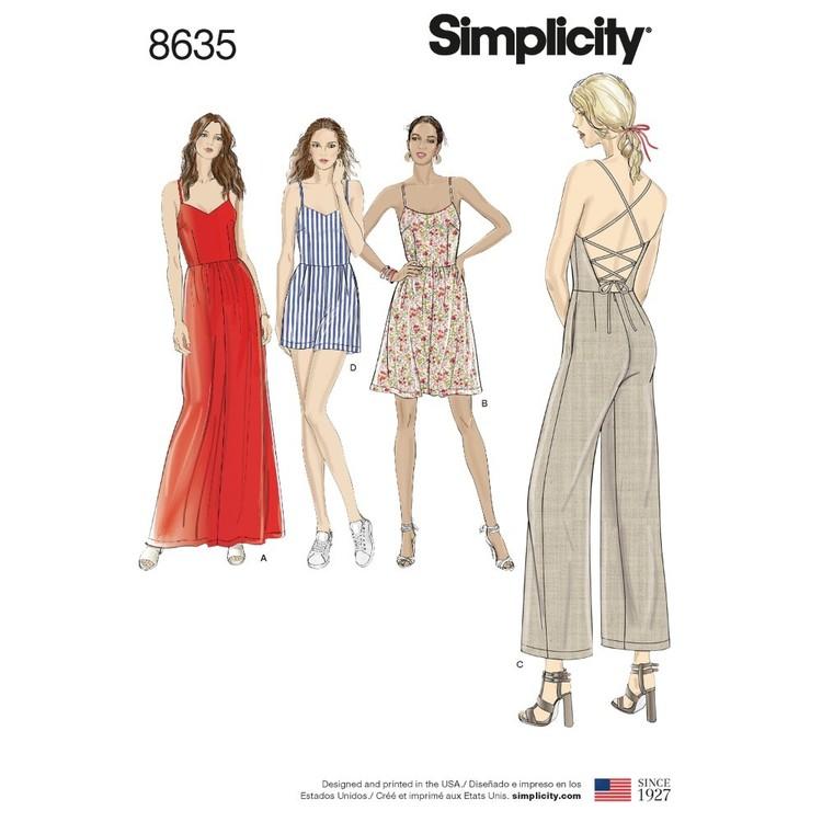 Simplicity Pattern 8635 Misses' Dress, Jumpsuit And Romper
