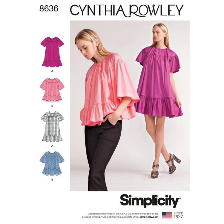 Simplicity Pattern 8636 Misses' Dress And Top By Cynthia Rowley