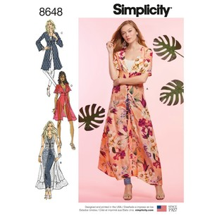 Simplicity Pattern 8648 Misses' Duster In Two Lengths