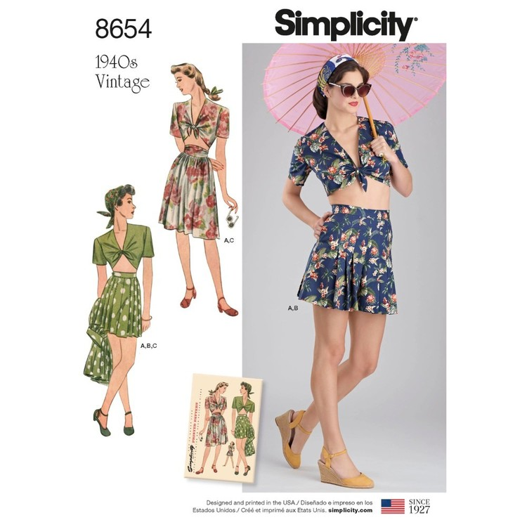 Simplicity Pattern 8654 Misses' Vintage Skirt, Shorts And Tie Top