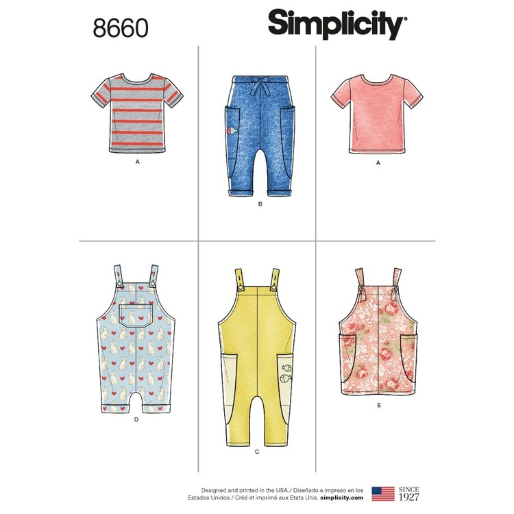 Simplicity Pattern 8660 Toddlers' Knit Top, Pants, Jumper, And Overalls