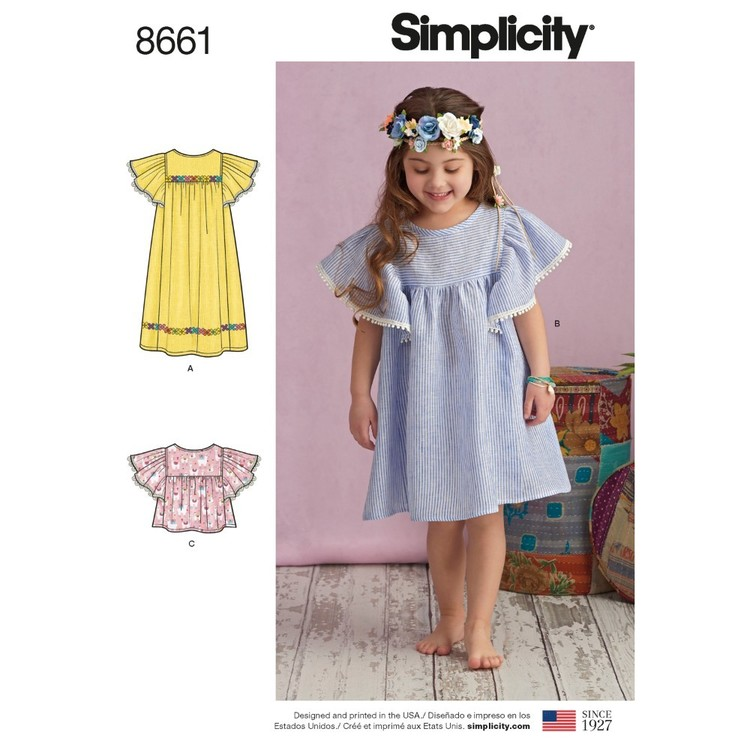 Simplicity Pattern 8661 Child's Dresses And Tops