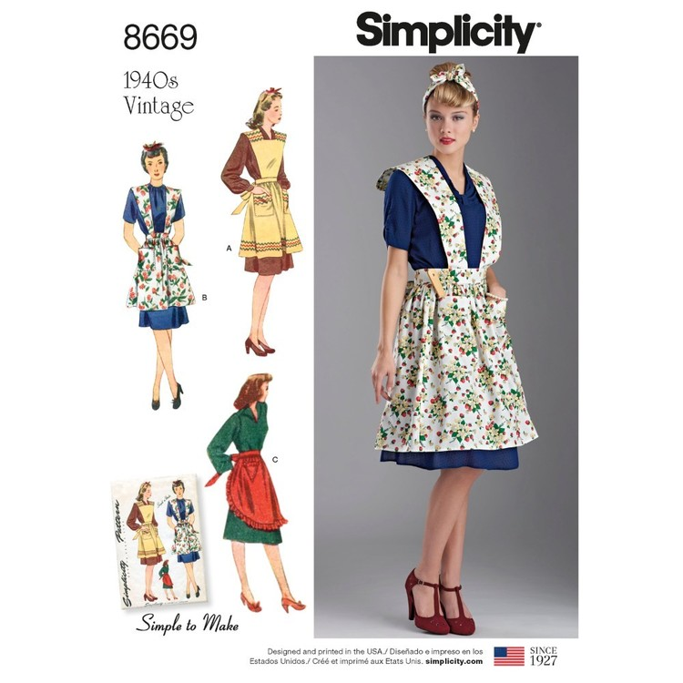 Simplicity Pattern 8669 Misses' Vintage Aprons