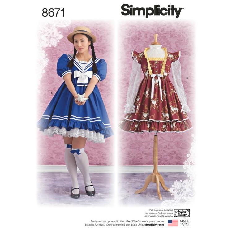Simplicity Pattern 8671 Misses' Lolita Costume Dresses
