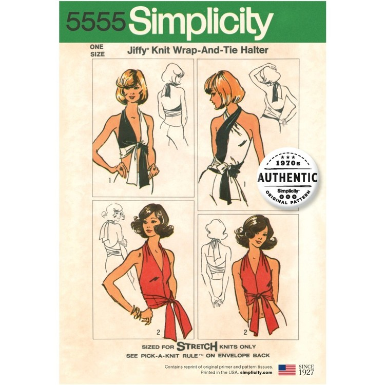 Simplicity Pattern 5555 Misses' Vintage Jiffy Knit Wrap And Tie Top