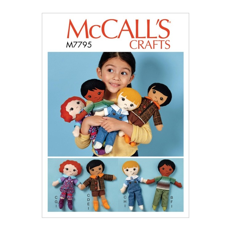 McCall's Pattern M7795 Doll, Clothes And Shoes