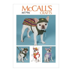 McCall's Pattern M7796 Dog Hats, Harness And Cape
