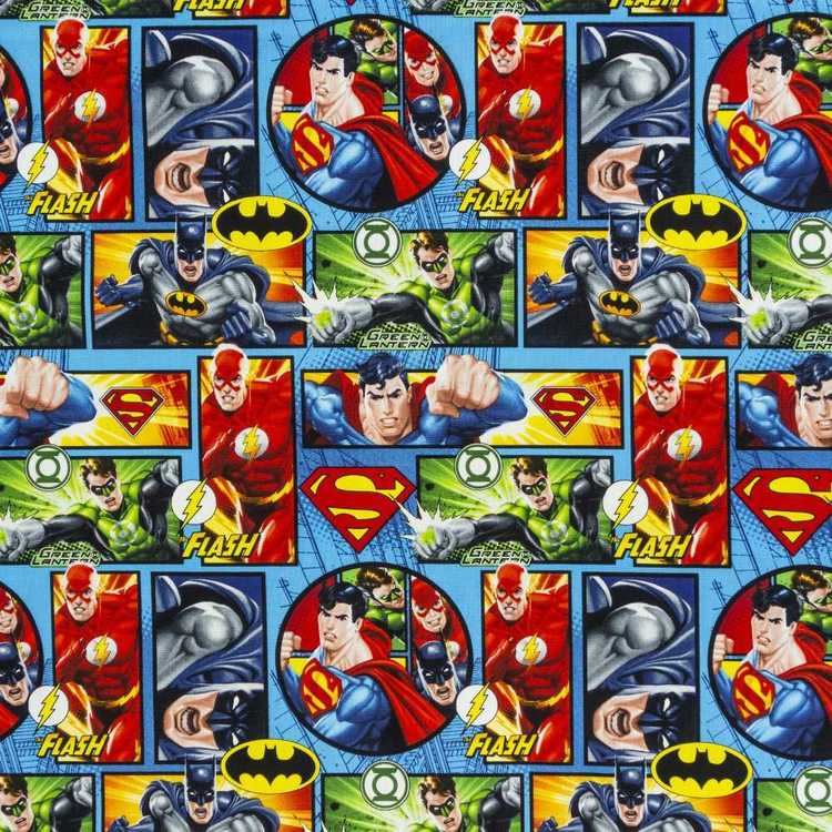 DC Comics Justice League Comic Strip Curtain Fabric