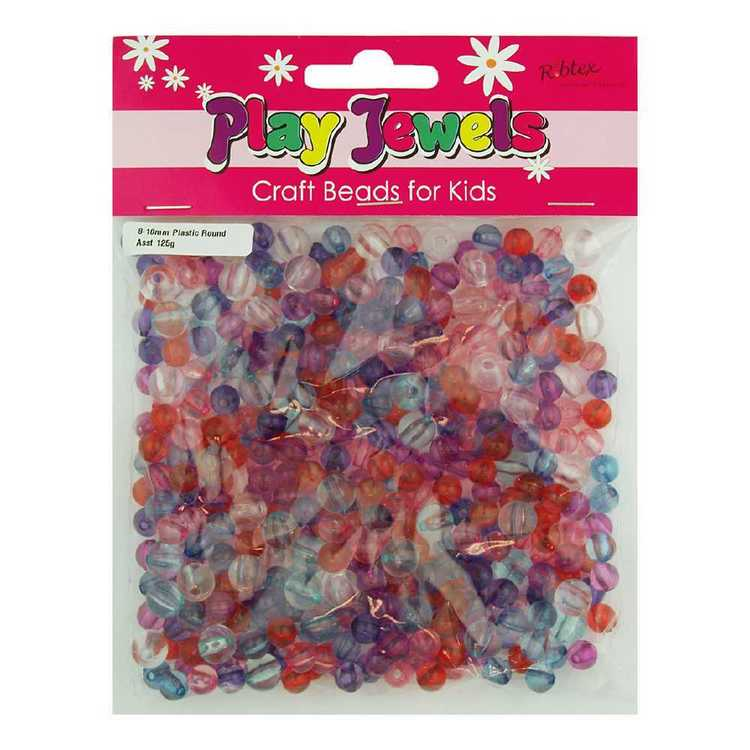 Play Jewels Round Plastic Beads Assorted Value Pack