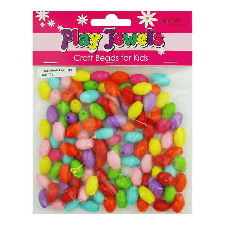 Play Jewels Faceted Tube Plastic Beads Value Pack