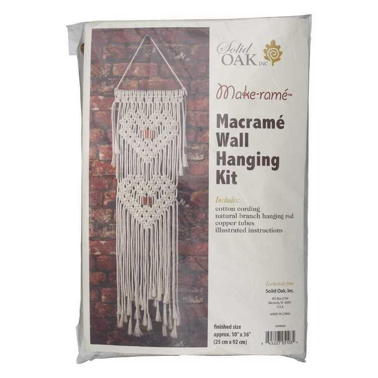 Solid Oak Heart Macrame Wall Hanging Kit
