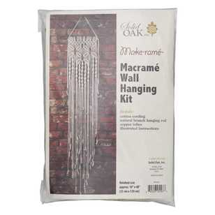 Solid Oak Floral Macrame Wall Hanging Kit