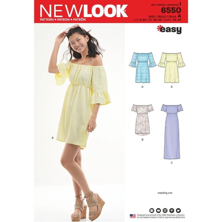 New Look Pattern 6550 Misses' Off-The-Shoulder Dresses