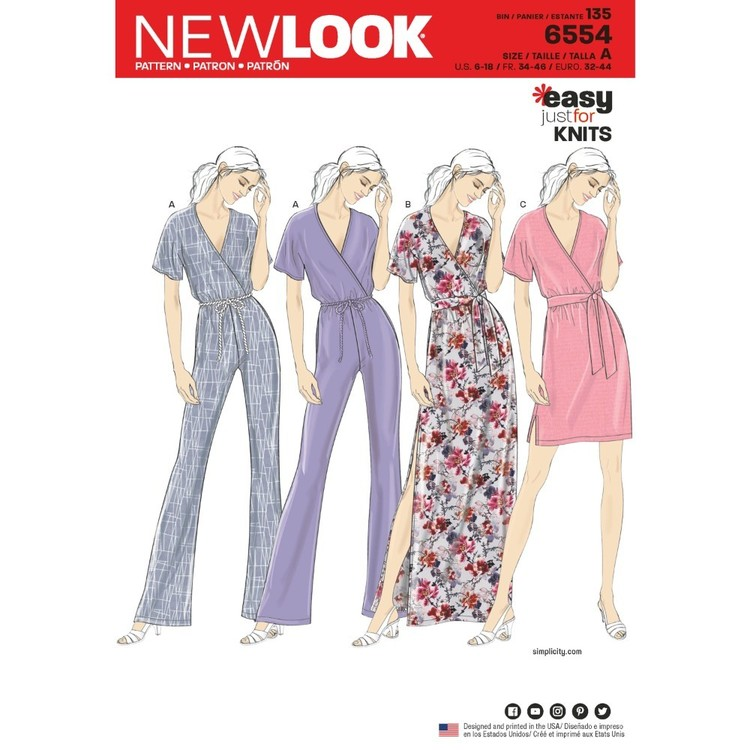 New Look Pattern 6554 Misses' Knit Jumpsuit And Dresses