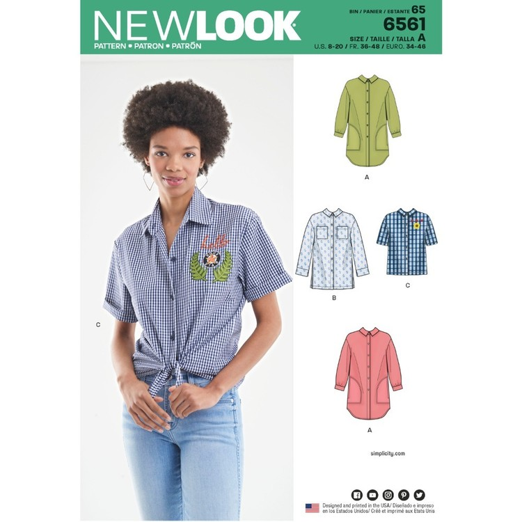 New Look Pattern 6561 Misses' Shirts In Three Lengths