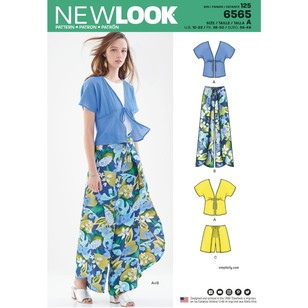 New Look Pattern 6565 Misses' Kimono Top And Wrap Pants Or Shorts