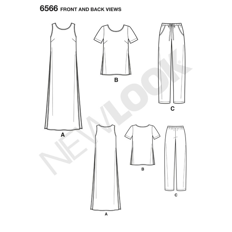 New Look Pattern 6566 Misses' Tunic, Top And Pants 8 - 18