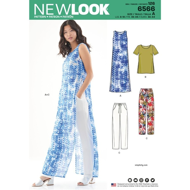 New Look Pattern 6566 Misses' Tunic, Top And Pants