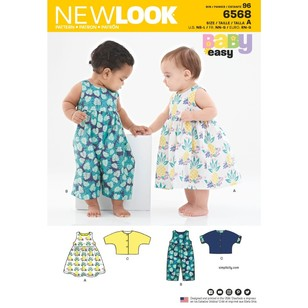 New Look Pattern 6568 Babies' Dress, Romper And Jacket