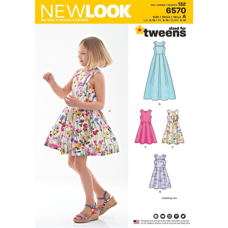 New Look Pattern 6570 Girl's Dress In Two Lengths